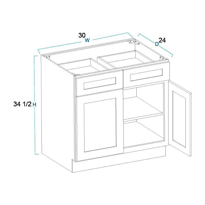 2 Door 2 Drawer Base Cabinets